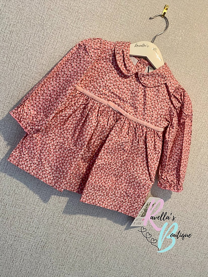 Pink long sleeve patterned dress