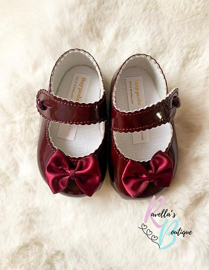 Girls shoes with bow - burgandy