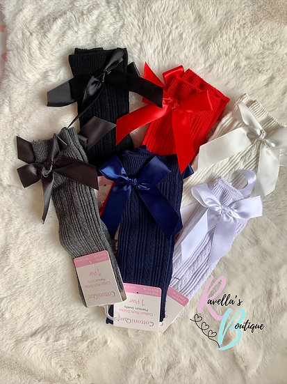 Girls ribbed knee high socks with bow (older girls)