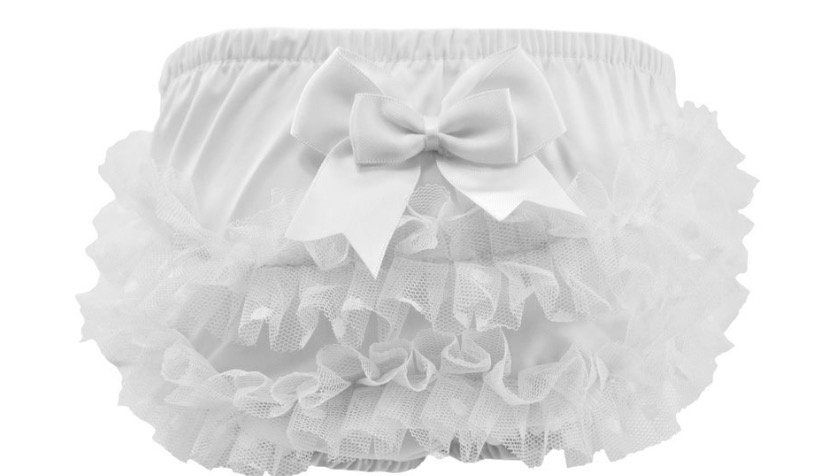 White frilly knickers with bow