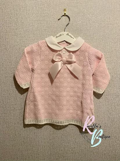 Arabella pink knitted long sleeve dress
