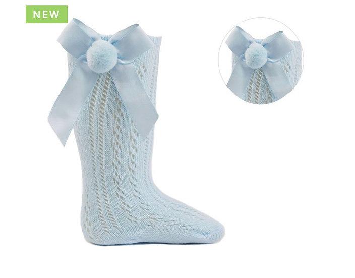 Blue pelerine socks with pompom bow