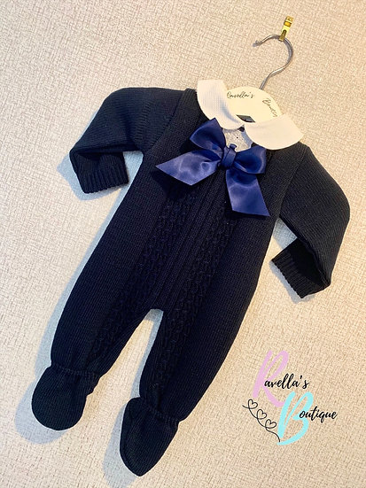 Anita romper with bow - navy