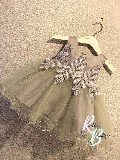 Silver leaf party dress