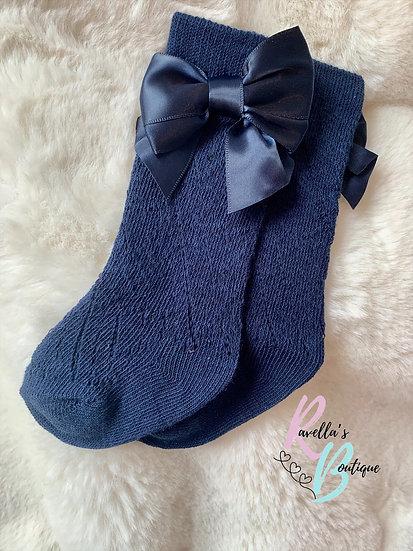 Pelerine knee high socks with bow - navy