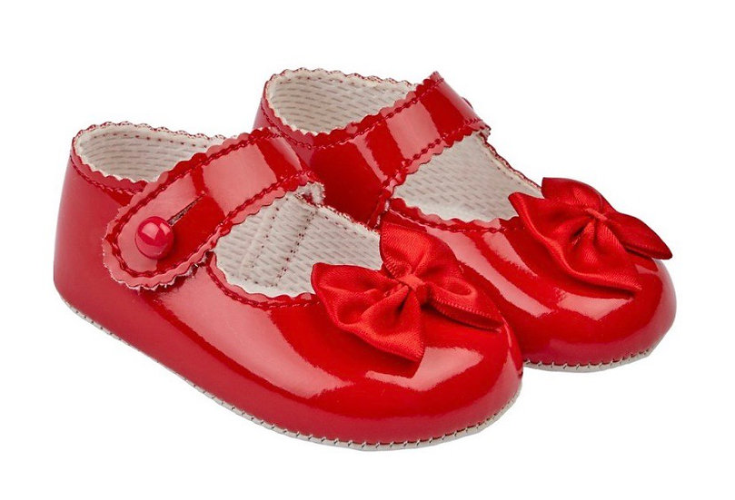 Girls shoes with bow - red