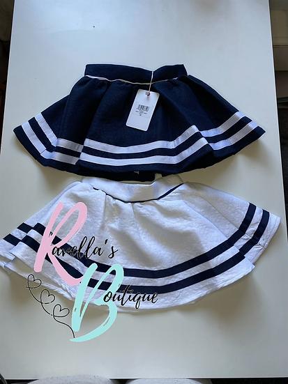 Nautical full circle skirt navy and white