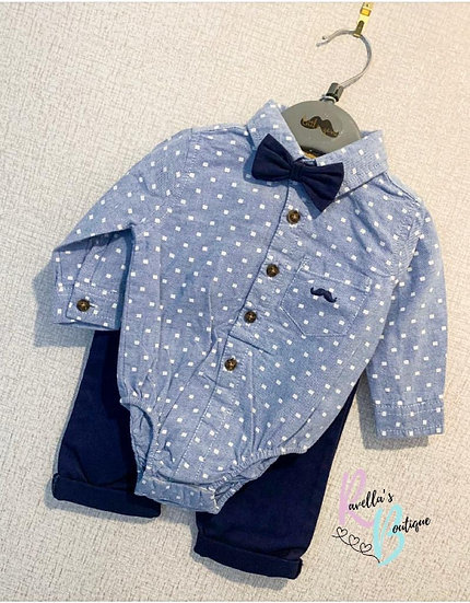 Navy and Blue Shirt and Trousers Set
