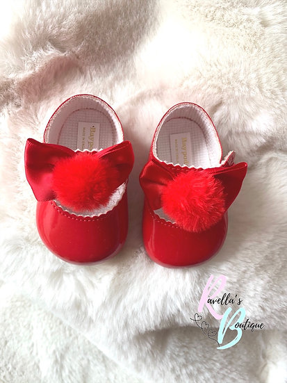 Girls pompom shoes - red