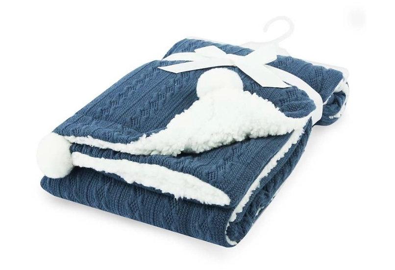 Steel blue pom pom blanket