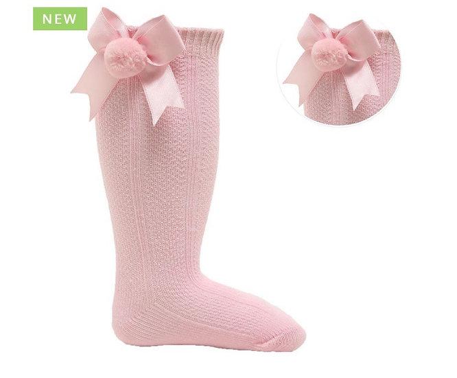 Pink Knee high pompom bow socks