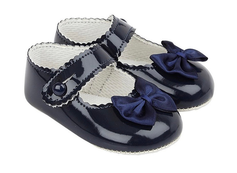 Girls shoes with bow - navy
