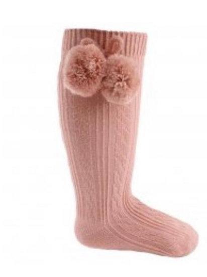 Rose gold knee high Pom Pom socks