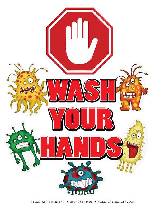 WASH YOUR HANDS SIGN 8.5 X 11 ""