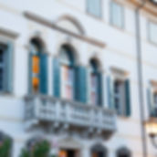 Facciata con bacone di Villa Boschi, a Isola della Scala