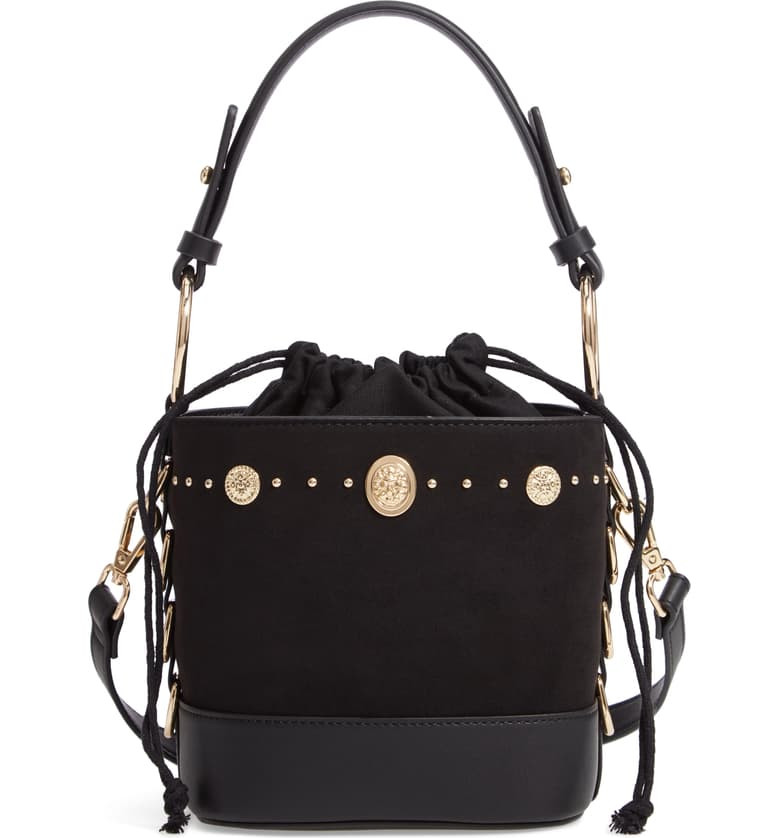 Bianca Studded Faux Leather Bucket Bag, Main, color, Black Multi
