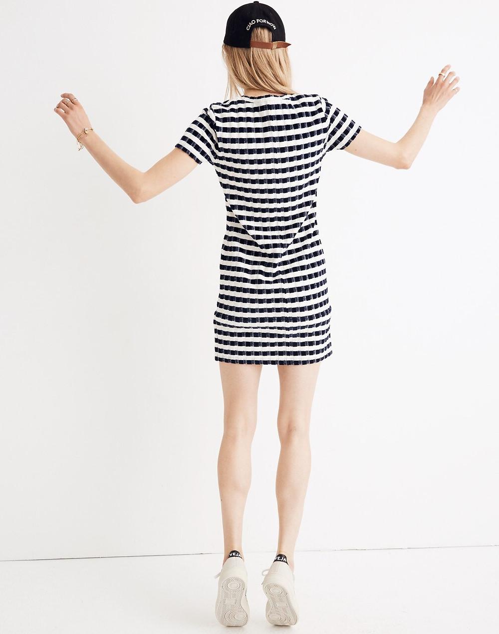 Velvet-Striped Tee Dress