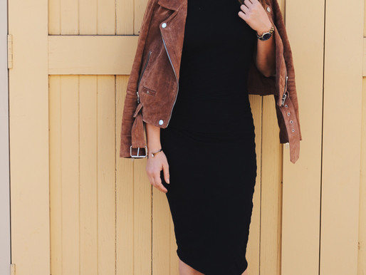 Outfit of The Day: Bodycon Dress & Suede Jacket