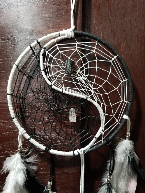 Dreamcatcher Med size yin and yang with Quartz & Black Tourmaline