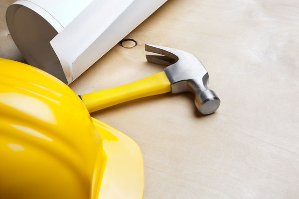 Plumbing tools and hard hat