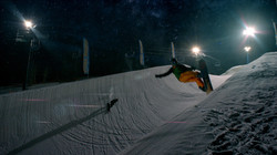 Cloud 9: snowboarder in the air