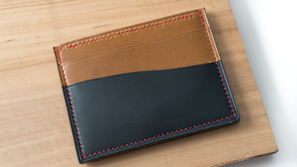 No•55 in Blue & Tan Heritage Leather with Red Stitching
