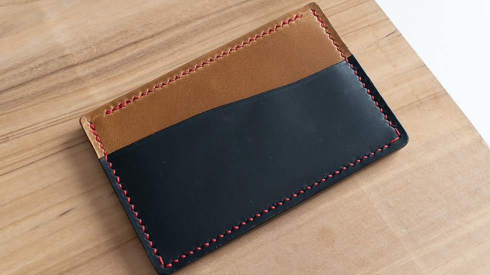 No•33 in Blue & Tan Heritage Leather with Red Stitching