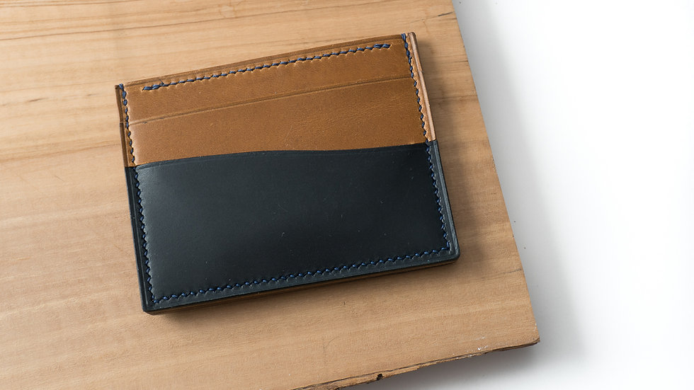 No•55 in Blue & Tan Heritage Leather with Blue Stitching