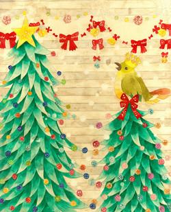 クリスマスツリーとみどりの鳥