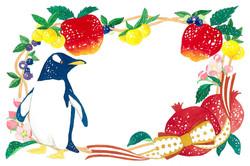 ペンギンと果物