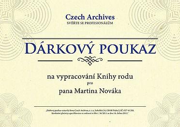 Czech Archives Dárkový poukaz na Knihu rodu