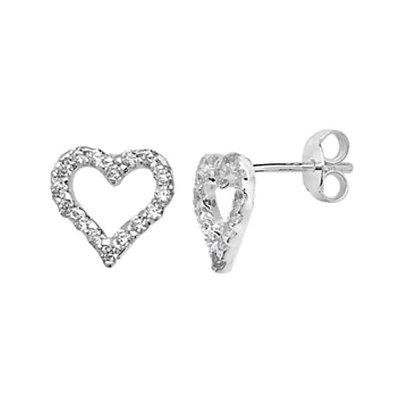 Sterling Silver and CZ open heart stud earringss