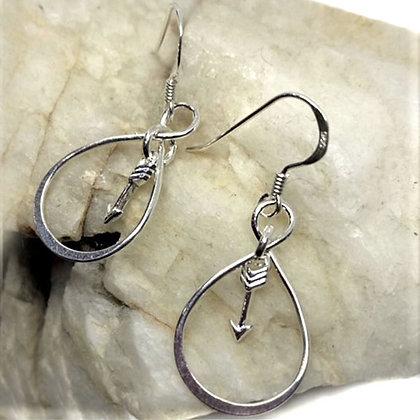 Sterling Silver Infinity & arrow drop earrings