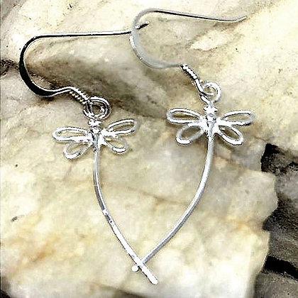 Sterling silver dragonfly drop earrings