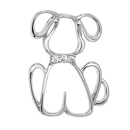Sterling Silver &  CZ dog pendant
