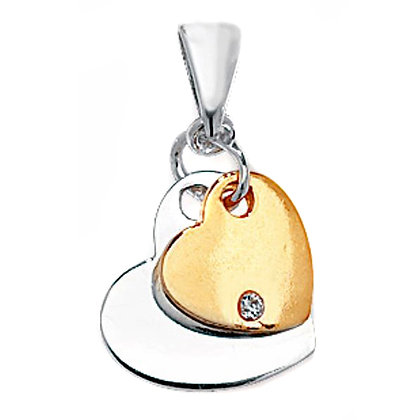 Sterling Silver & 9ct Gold Hearts Pendant