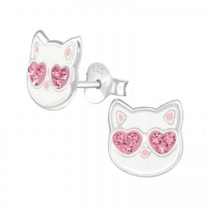Sterling Silver cats stud earrings