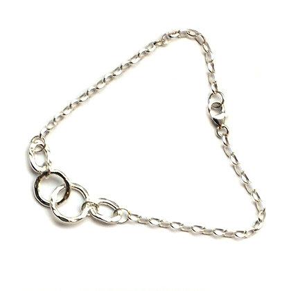 Sterling Silver  Hammered Circles  Bracelet