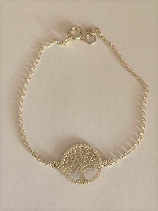 Sterling Silver & CZ tree of life Bracelet