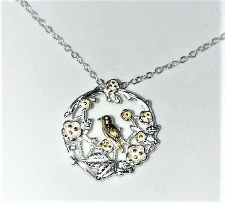 Sterling Silver blossom & bird pendant