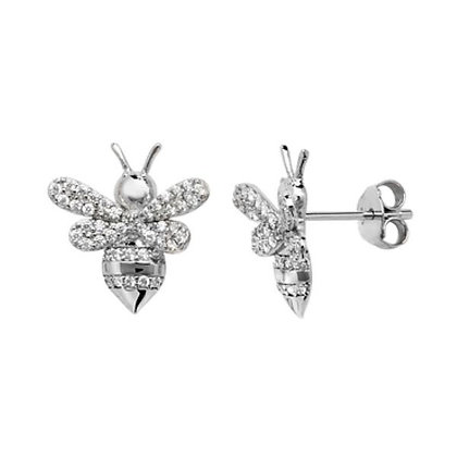 Sterling Silver & CZ bee stud earrings