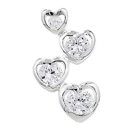 Sterling Silver & cz Four Hearts Pendant