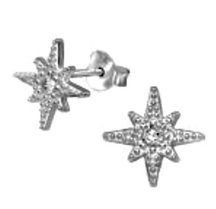 Sterling Silver  and  CZ Star Stud Earrings