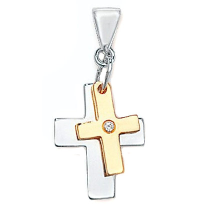Sterling Silver & 9ct gold crosses pendant