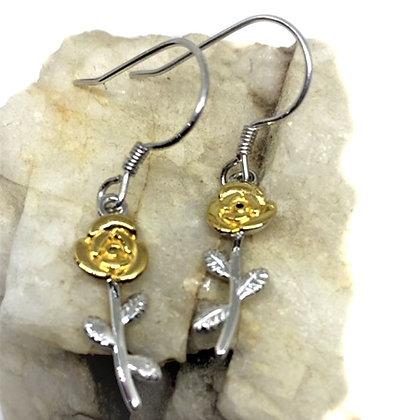 Sterling Silver & 9ct gold Rose Drop earrings