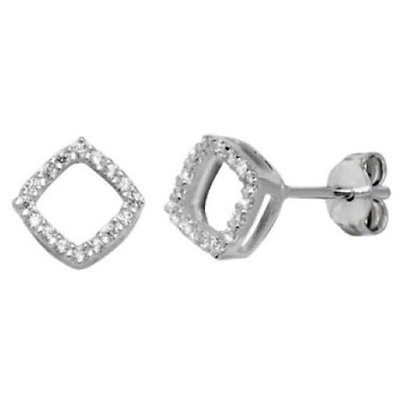 copy of Sterling silver & cz square stud earrings