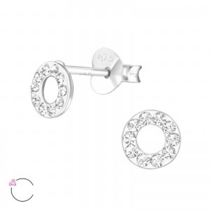 Sterling Silver Novelty Open circle Studs