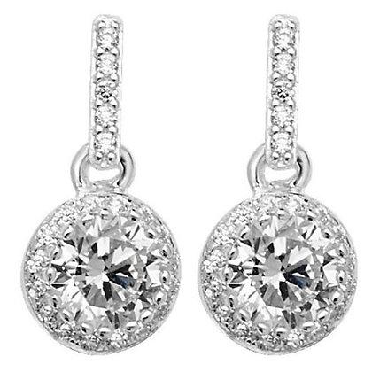 Sterling silver & CZ drop stud earrings