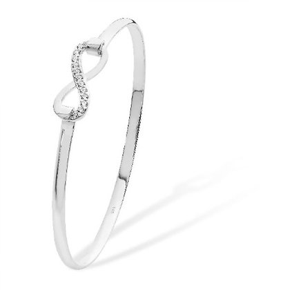 Sterling Silver & CZ Bangle with Infinity clasp