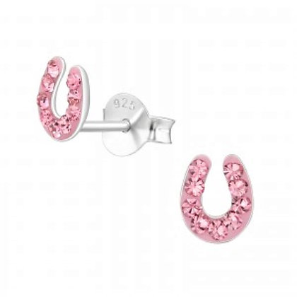 Sterling Silver  & cz horseshoe  stud earrings